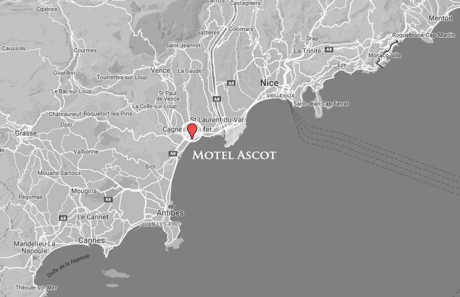 Carte de la Côte d'Azur avec la position du Motel Ascot
