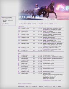 Calendrier du meeting d'été 2018 avec le détail de chaque réunion