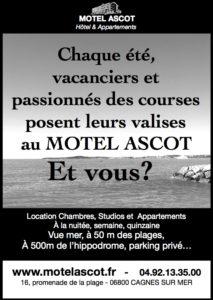 Publicité en noir et blanc du Motel Ascot