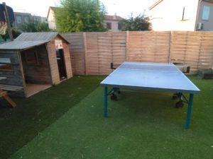 Table de ping-pong du Motel Ascot dans un espace en gazon synthétique