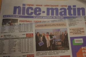 Journal Nice-Matin du jeudi 22 février 2018 avec photos des lauréats du Prix Motel Ascot